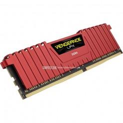 Corsair Vengeance® LPX 8GB (1x8GB) DDR4 DRAM 2400MHz C14 Memory Kit - Red (CMK8GX4M1A2400C16R)
