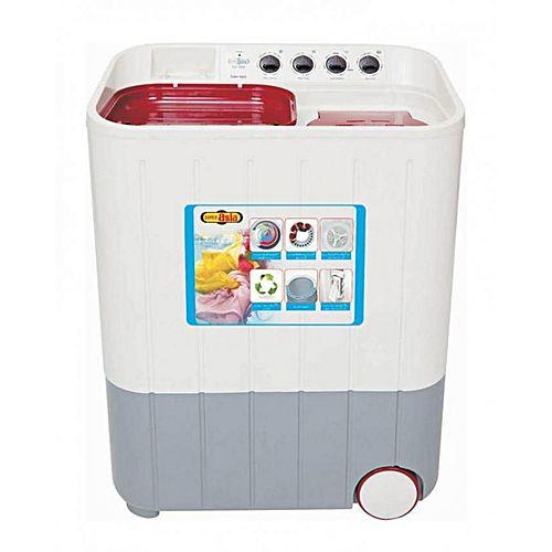 Super Asia SA-244 Semi Automatic Twin Tub Washing Machine 8 Kg White Grey