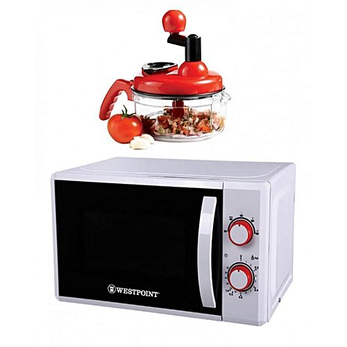 Westpoint Official Pack of 2 Deluxe Microwave Oven WF822M With Free Handy Chopper Red & White