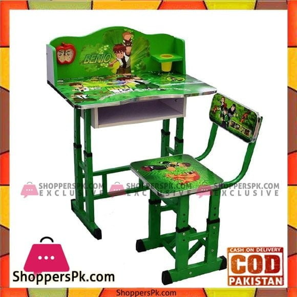 Ben 10 Kids Wooden Study Table and Chair (3-10 Years)