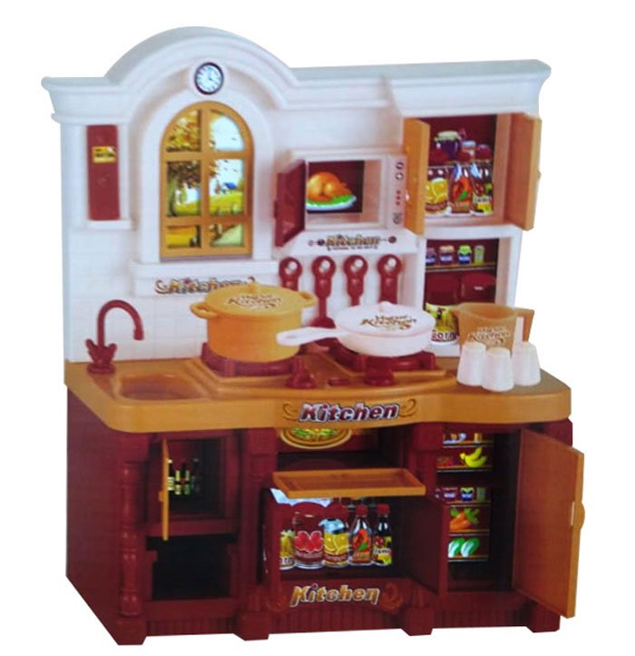 Classic Brown Country Kitchen Set with Light & Sound