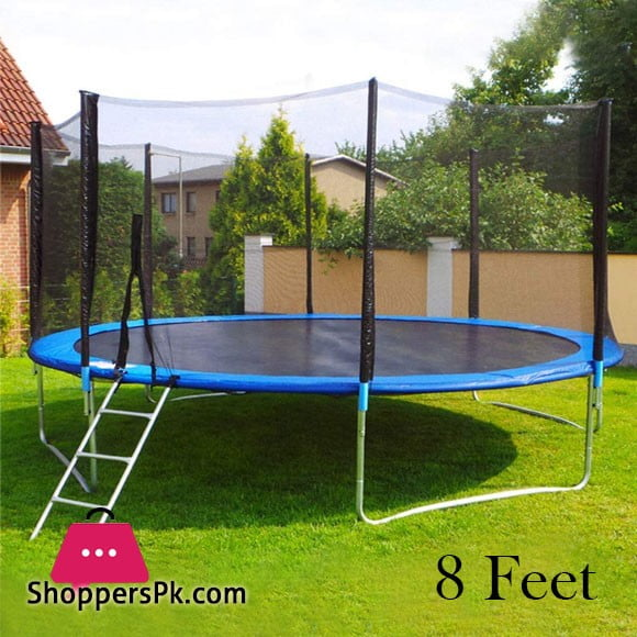 High Quality Fun Fit Garden Trampoline 8 Feet Outdoor Trampoline with Net and Ladder