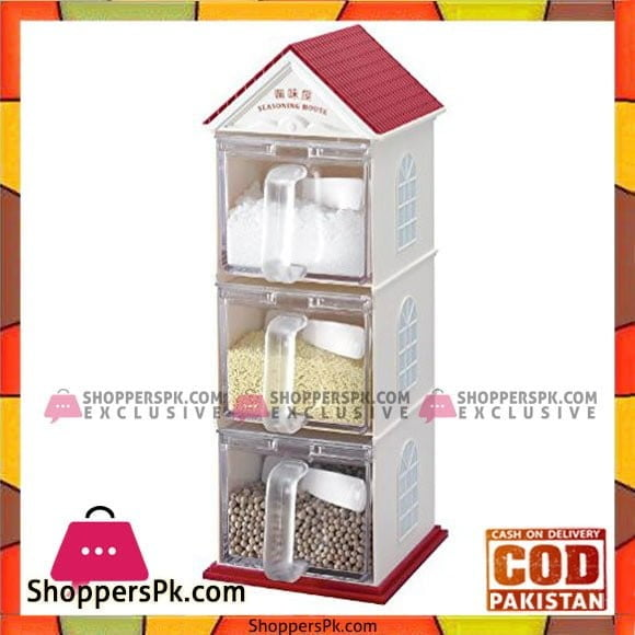 Spice Box Jar Plastic Seasoning House 3 Layers Sugar Sauce Pot Container With Spoon Kitchen Supplies