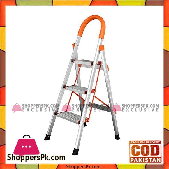 3 Step Foldable Ladder Stainless Steel