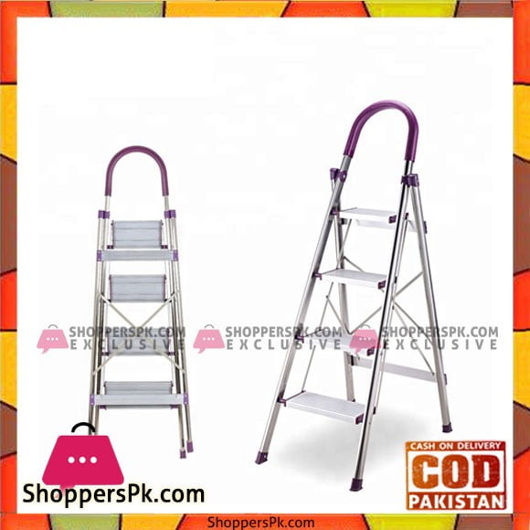 4 Step Foldable Ladder Stainless Steel
