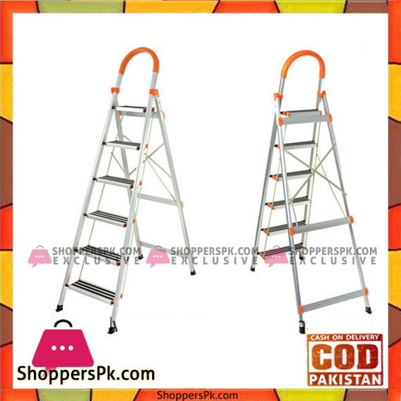6 Step Foldable Ladder Stainless Steel