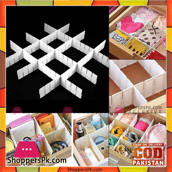 6Pcs Good Quality Practical Plastic Necessities Storage Organizer Divider White