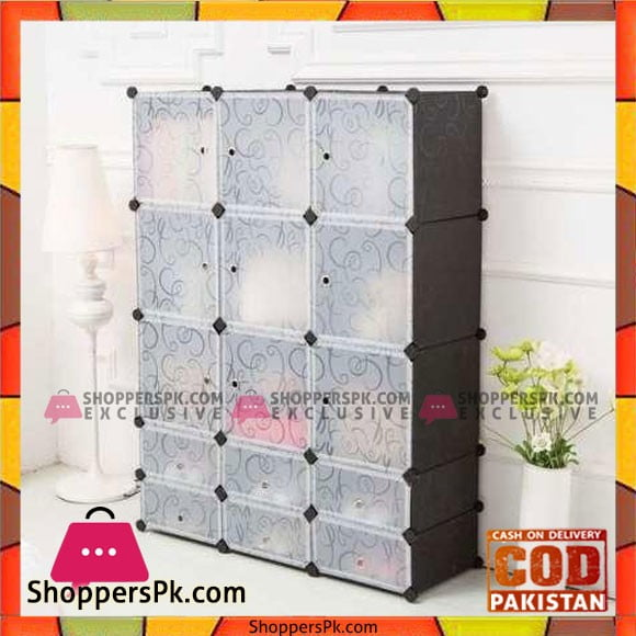 Black Plastic Door Covers for Interlocking Cube Storage Shelves Wardrobe Shoe Rack