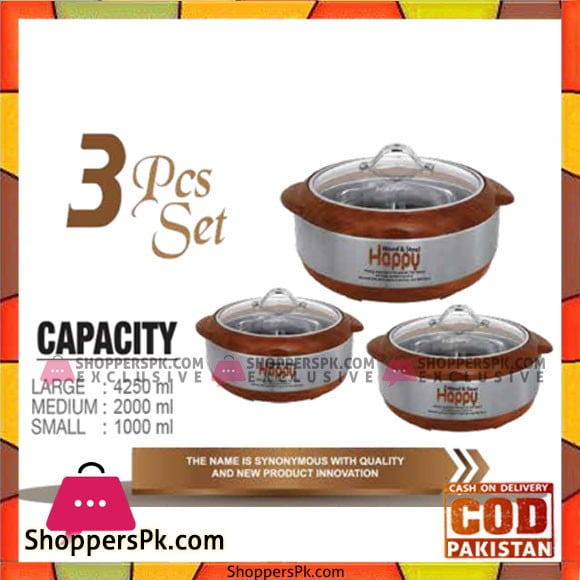 Happy Handsome Wood And Steel 3 Pcs Hotpot Set