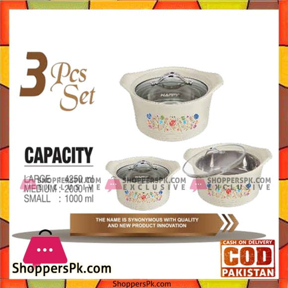 Happy Handsome Hot Value Glass Top 3 Pcs Hotpot Set