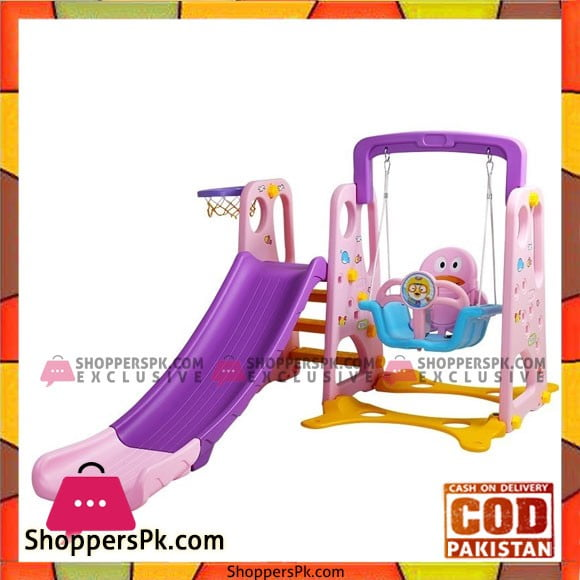 Kids Slide with Basketball and Swing 3 in 1