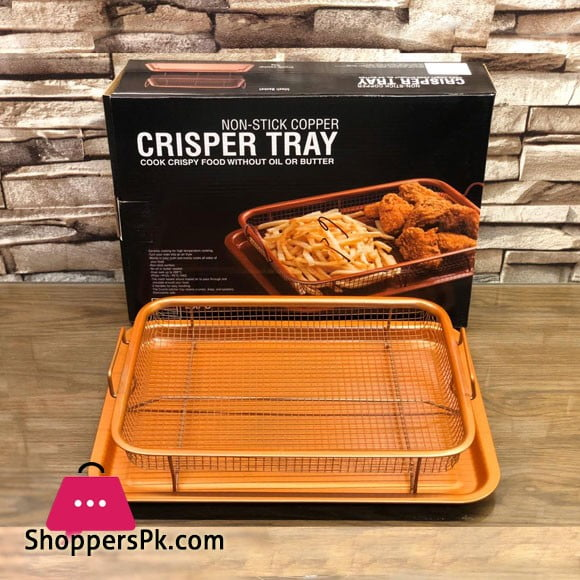 Non-Stick Copper Crisper Tray Cook Crispy Food without Oil or Butter