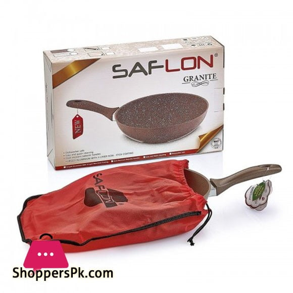 Saflon 11 Inch Granite Non-Stick Wok Single Handle Pan