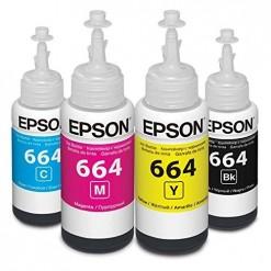 Epson T664 Ink Bottles for L100 L110 L300 L350 L355 L550 L555 (Four Bottles)