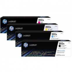 HP 202A Black, Cyan, Magenta, Yellow Toner Cartridges (CF500A, CF501A, CF502A, CF503A)