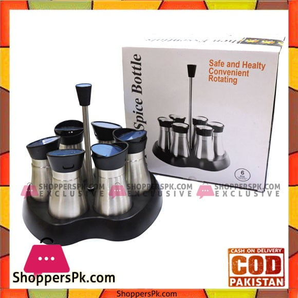 High Quality Stainless Steel 6 Pcs Spice Jars with Stand