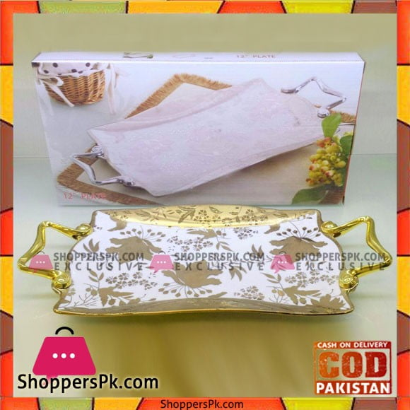 """Imperial Ceramic Serving Tray-Golden Print-12"""""""