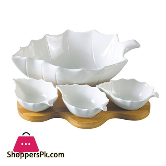 Imperial Salad Bowl With Wooden Stand - Set of 4 - Ceramic
