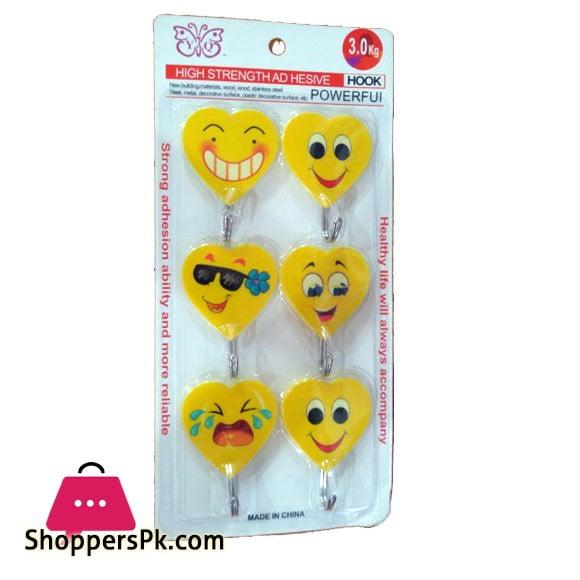 Self Adhesive Smiley Hooks, Load Capacity 3kg, Set of 6