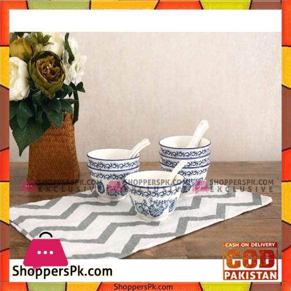 Bowl Set With Spoon-12 Pcs-Ceramic-Printed