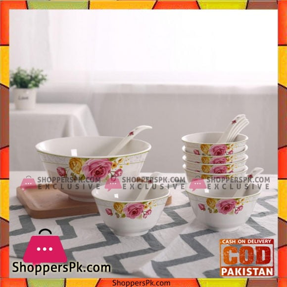 Bowl Set With Spoon-14 Pcs-Printed