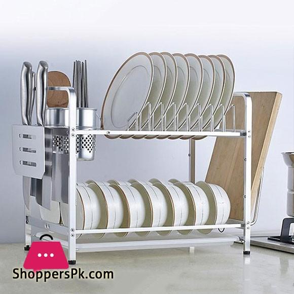 High Quality Aluminium 2 Layers Dish Drainer Rack