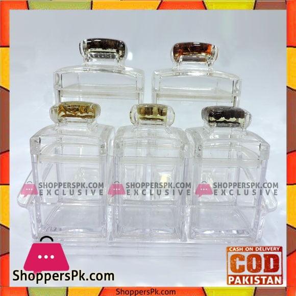 High Quality Glass Jars Set with Glass Tray 6 Pcs