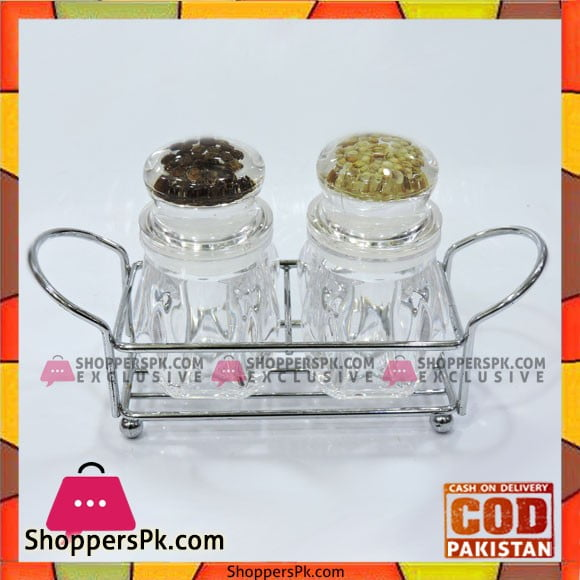 High Quality Glass Spice Jars with Stainless Steel Stand
