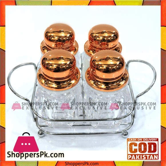 High Quality Glass Spice Jars Set with Stainless Steel Stand