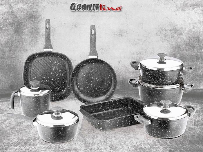 High Quality Saflon Black Granite 13 Piece Cooking Set