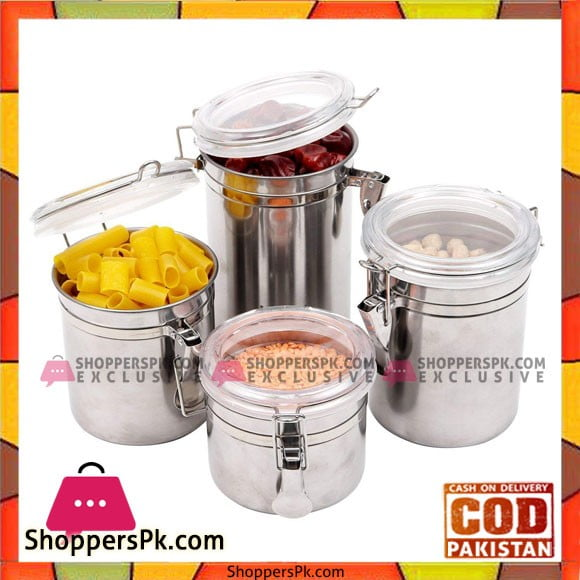 High Quality Stainless Steel Canisters Space Saving Kitchen Storage Container
