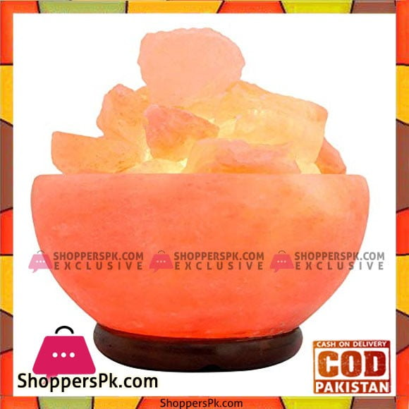 Himalayan Salt Lamp Big Bowl Shape With Salt Chunks And Wooden Base