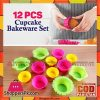 Hua You 12 Pcs Silicone Cupcake Molder Bakeware Set