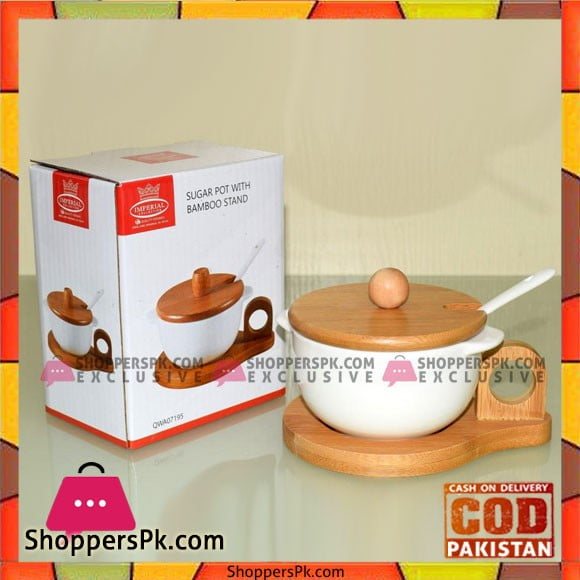 Solecasa Ceramic Sugar Pot - Wooden Lid With Stand & Spoon - White