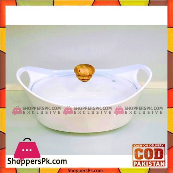 Solecasa Serving Bowl With Glass Lid - Heat Resistant - Ceramic