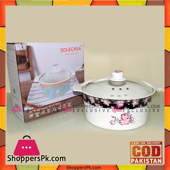 Solecasa Serving Dish With Glass Lid - Heat Proof - Ceramic - Printed