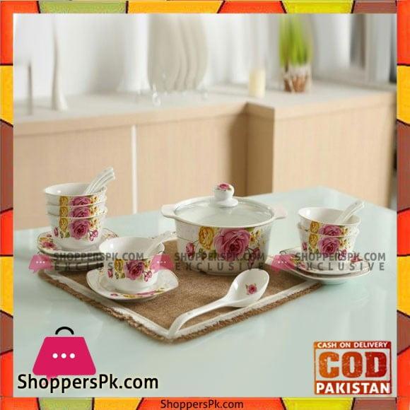 Soup Set-21 Pcs- Pink Rose