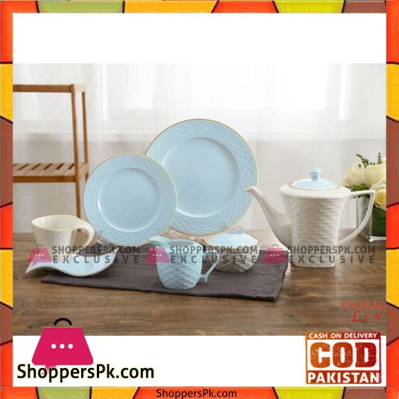 Tea Set With Serving Plates & Wavy Saucers-Set of 24 Pcs - Printed