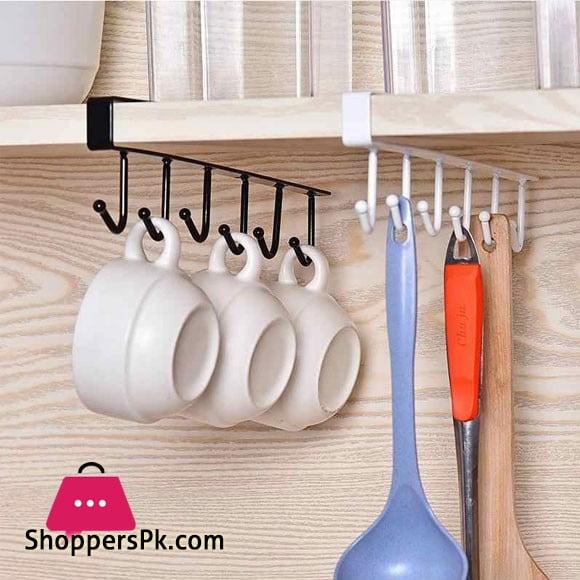 Under Shelf Cup Mug Holder Hanger Coffee Kitchen Storage Rack Cupboard 6 Hooks