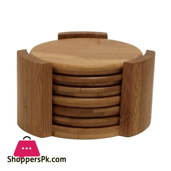 Bamboo Coaster Set with Holder Round