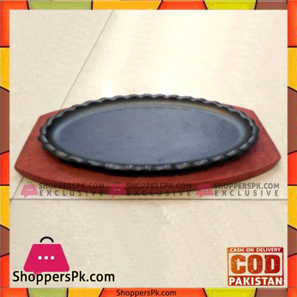 Cast Iron Sizzler Plate Oval With Wooden Base