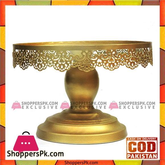 Golden Antique Design Cake Stand 8 Inches
