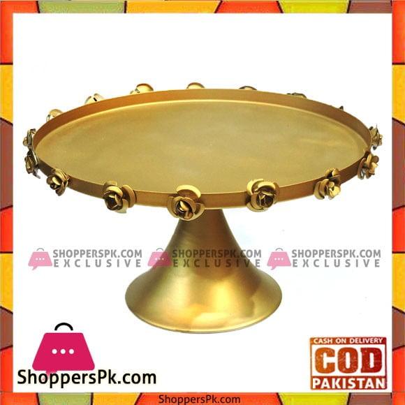 Golden Antique Flower Design Cake Stand 12 Inches