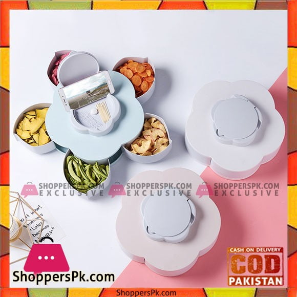 Creative Petal Rotating Fruit Container Seeds Snacks Nut Candy Storage Boxes Plastic Fruit Plate