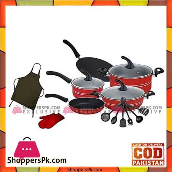 Domestic Non Stick Cookware Budget Gift Set 17 Pcs