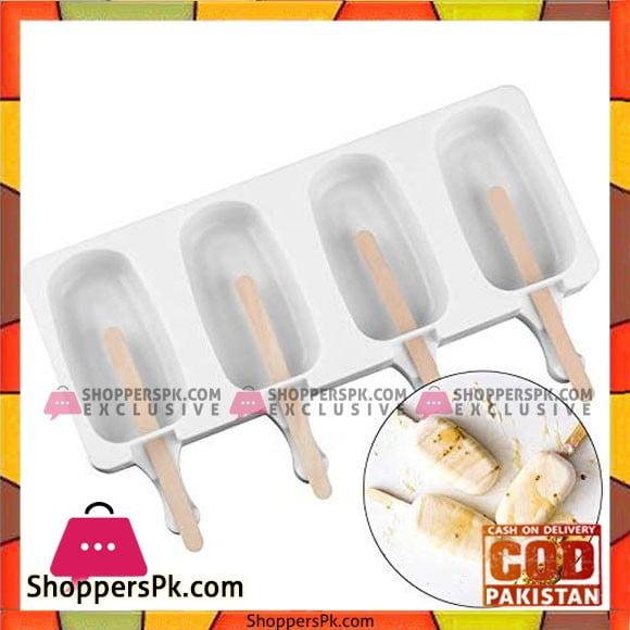 Food Grade Silicone Ice Cream Molds Bar Maker Popsicle Sticks