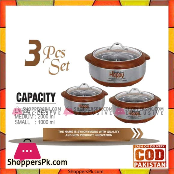Happy Handsome Wood and Steel Glass Top 3 Pcs HotPot Set