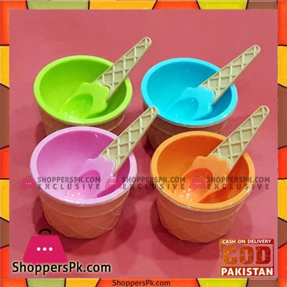 Ice Cream Bowl with Matching Spoons 2 Pcs Set