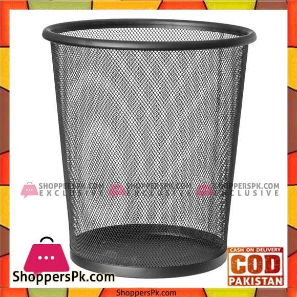 Metal Mesh Waste Paper Bin Office Bedroom Rubbish Trash Basket Size 12 Inch