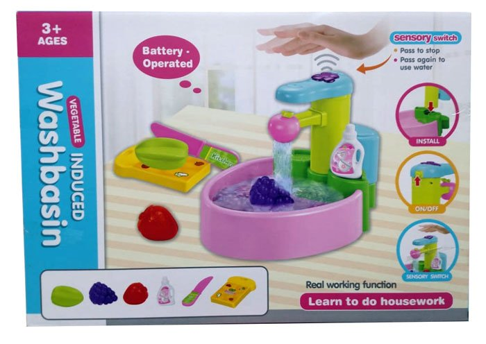 Simulation Sink Toy Real Working Function Induction Play House Set Kitchen Sink Toy